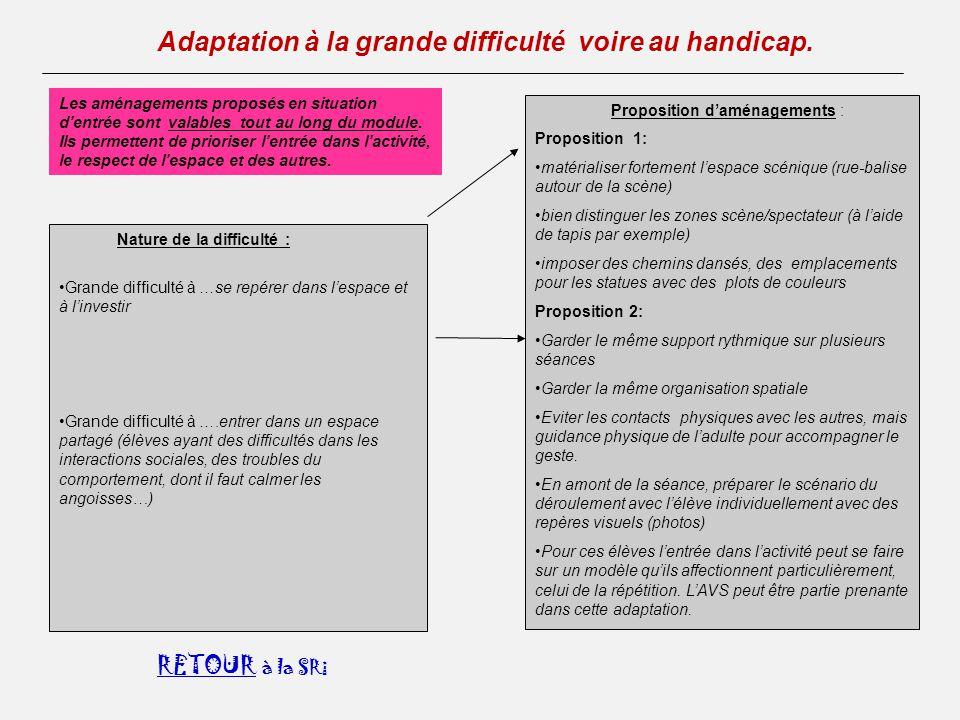 à la SRi Adaptation à la grande difficulté voire au handicap.