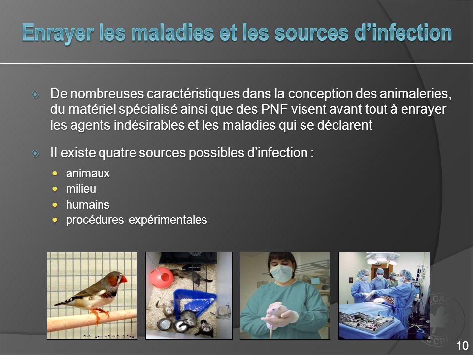  De nombreuses caractéristiques dans la conception des animaleries, du matériel spécialisé ainsi que des PNF visent avant tout à enrayer les agents i