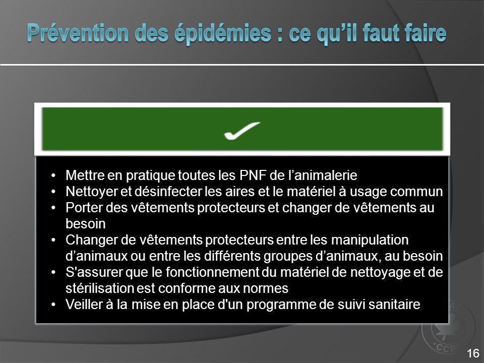 Mettre en pratique toutes les PNF de l'animalerieMettre en pratique toutes les PNF de l'animalerie Nettoyer et désinfecter les aires et le matériel à