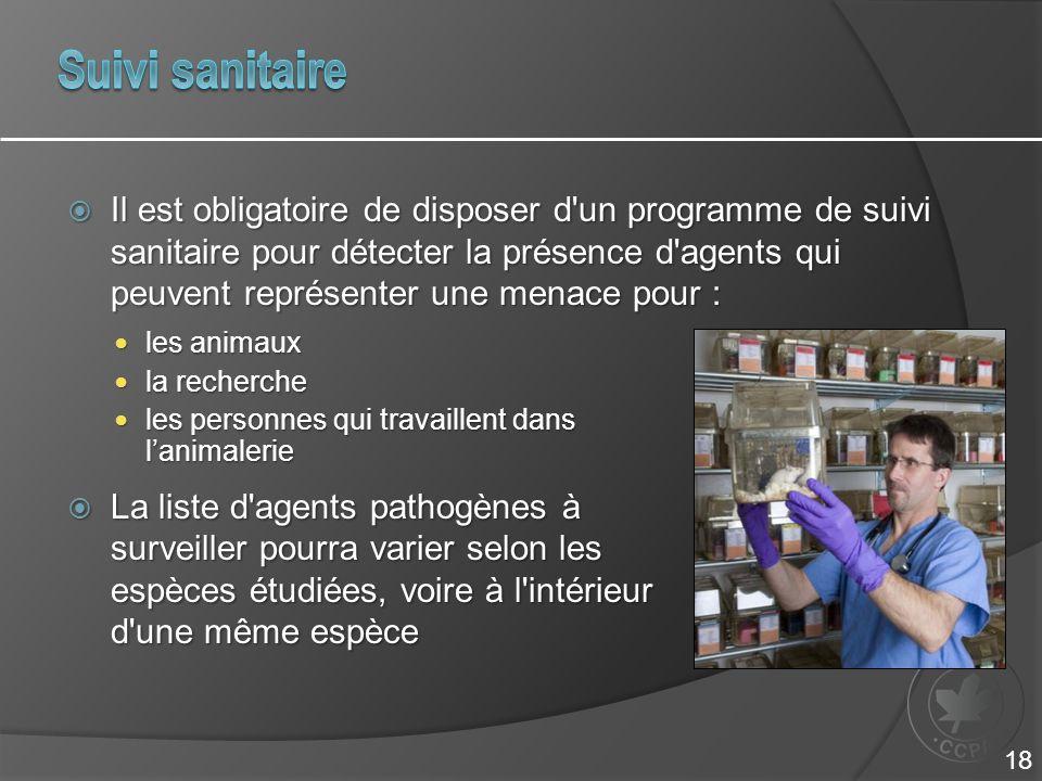 Il est obligatoire de disposer d'un programme de suivi sanitaire pour détecter la présence d'agents qui peuvent représenter une menace pour : les an