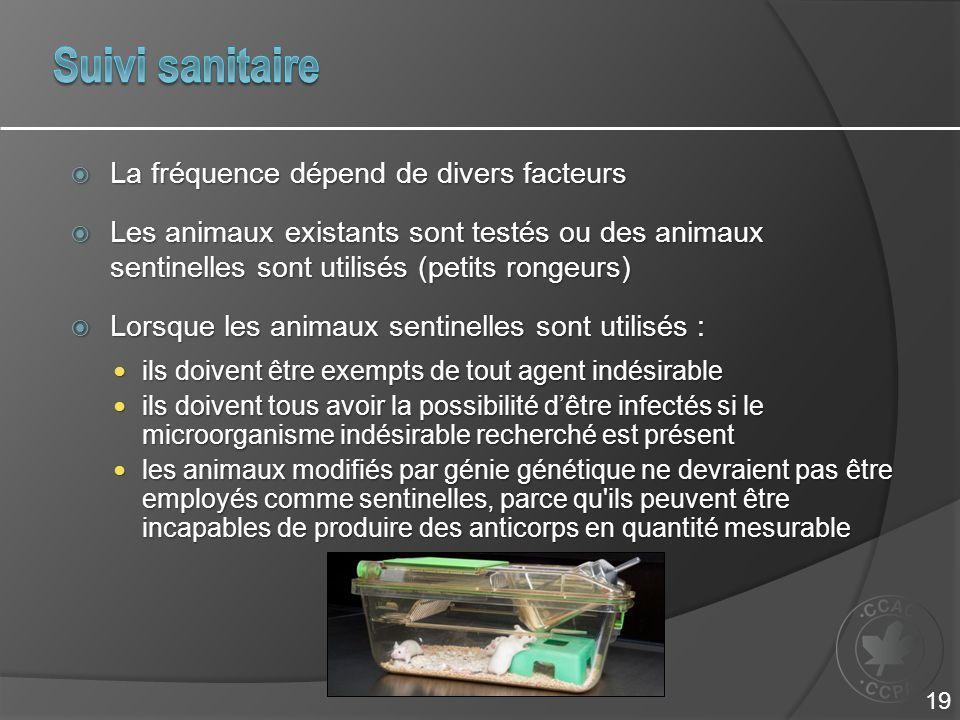  La fréquence dépend de divers facteurs  Les animaux existants sont testés ou des animaux sentinelles sont utilisés (petits rongeurs)  Lorsque les