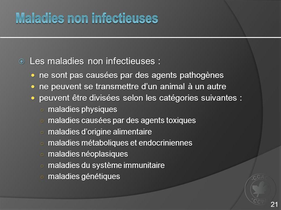  Les maladies non infectieuses : ne sont pas causées par des agents pathogènes ne sont pas causées par des agents pathogènes ne peuvent se transmettr