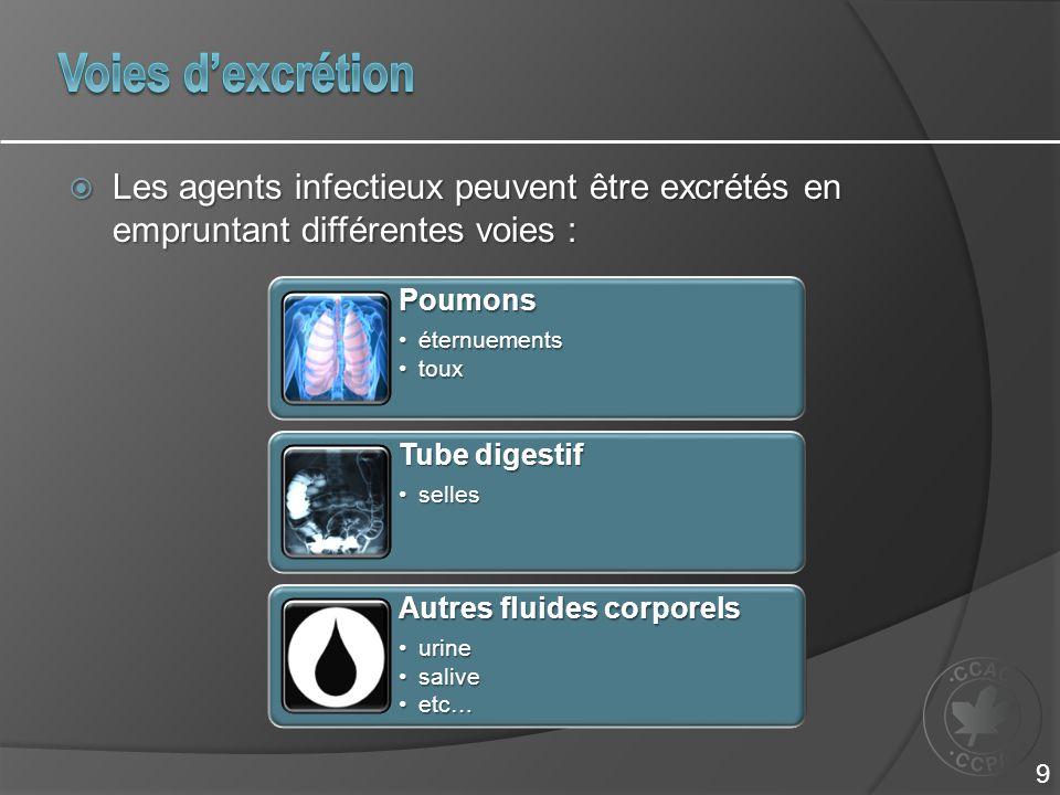  Les agents infectieux peuvent être excrétés en empruntant différentes voies : Poumons éternuementséternuements touxtoux Tube digestif sellesselles Autres fluides corporels urineurine salivesalive etc…etc… 9