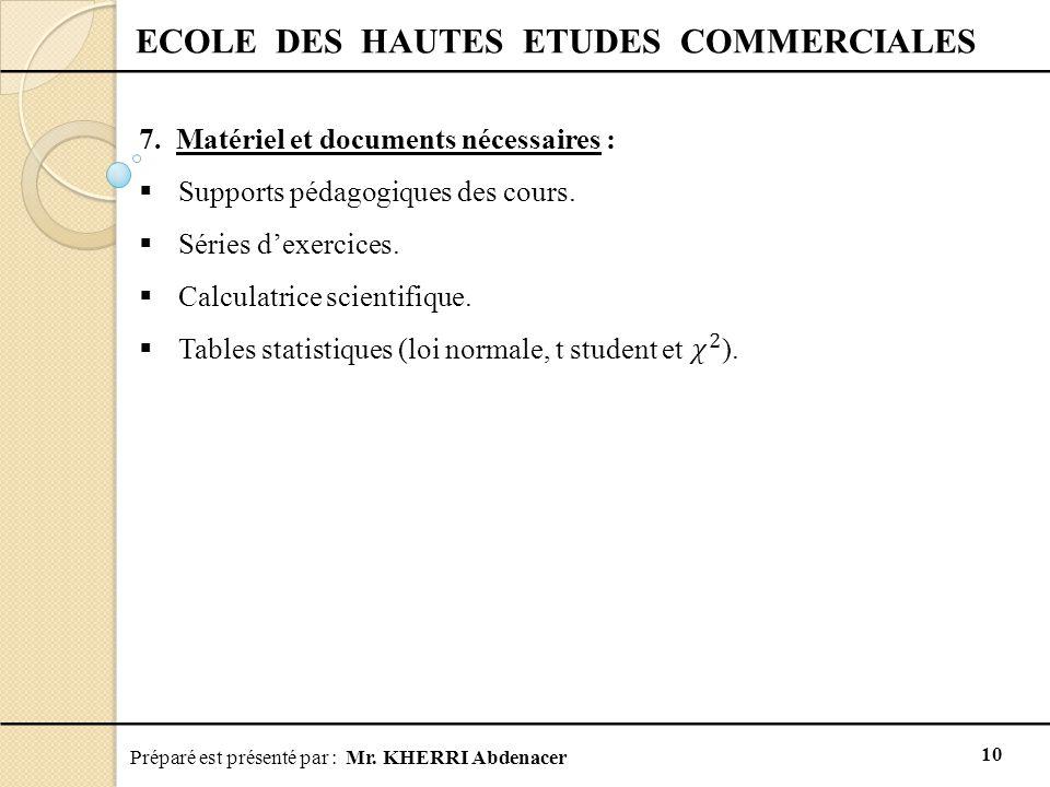Préparé est présenté par : Mr. KHERRI Abdenacer 10 ECOLE DES HAUTES ETUDES COMMERCIALES