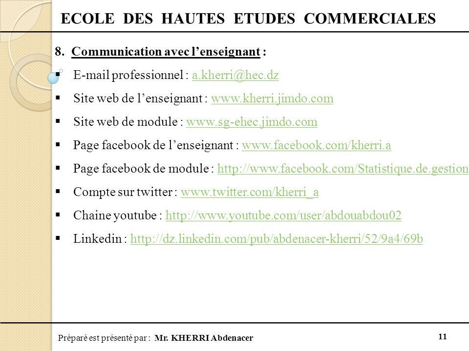 Préparé est présenté par : Mr. KHERRI Abdenacer 11 ECOLE DES HAUTES ETUDES COMMERCIALES 8. Communication avec l'enseignant :  E-mail professionnel :