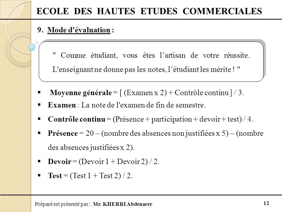 Préparé est présenté par : Mr. KHERRI Abdenacer 12 ECOLE DES HAUTES ETUDES COMMERCIALES 9. Mode d'évaluation :  Moyenne générale = [ (Examen x 2) + C
