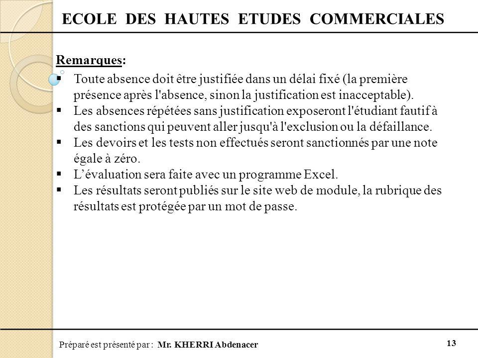 Préparé est présenté par : Mr. KHERRI Abdenacer 13 ECOLE DES HAUTES ETUDES COMMERCIALES Remarques:  Toute absence doit être justifiée dans un délai f