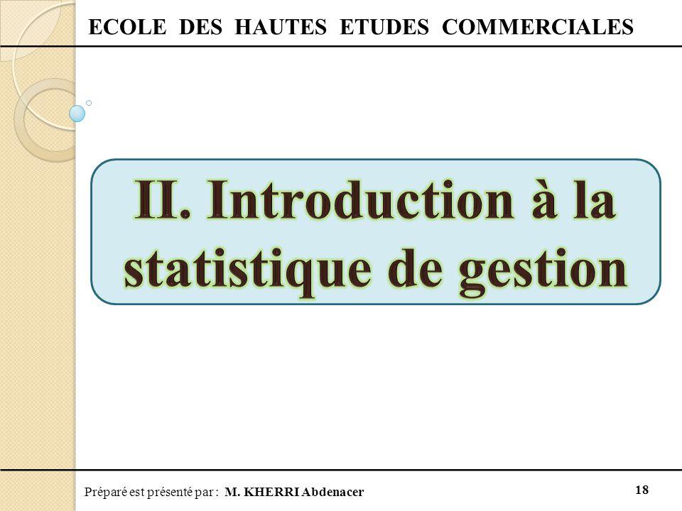 Préparé est présenté par : M. KHERRI Abdenacer 18 ECOLE DES HAUTES ETUDES COMMERCIALES