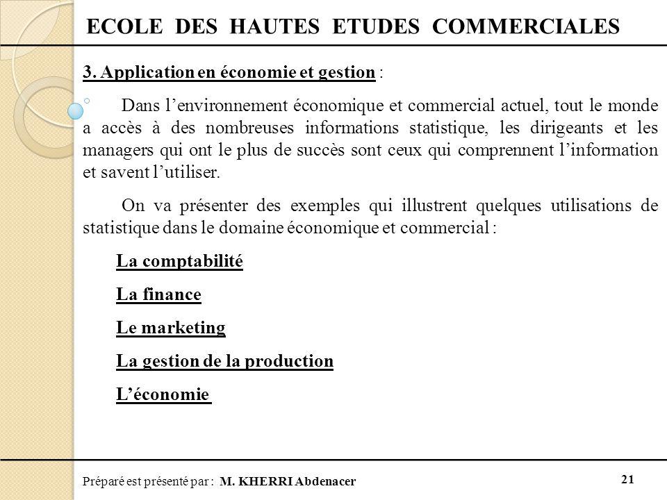 Préparé est présenté par : M. KHERRI Abdenacer 21 ECOLE DES HAUTES ETUDES COMMERCIALES 3. Application en économie et gestion : Dans l'environnement éc
