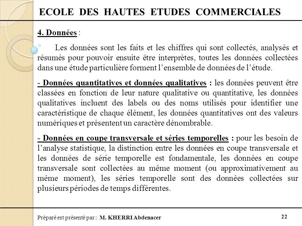 Préparé est présenté par : M. KHERRI Abdenacer 22 ECOLE DES HAUTES ETUDES COMMERCIALES 4. Données : Les données sont les faits et les chiffres qui son