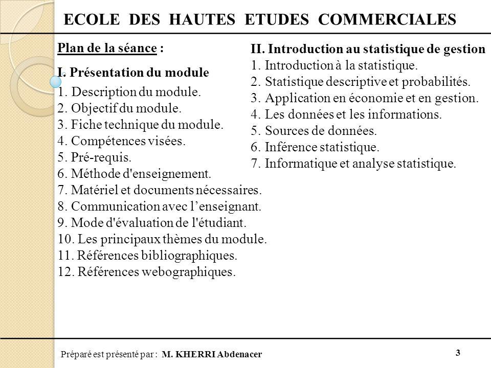 Préparé est présenté par : M. KHERRI Abdenacer 3 ECOLE DES HAUTES ETUDES COMMERCIALES Plan de la séance : I. Présentation du module 1.Description du m