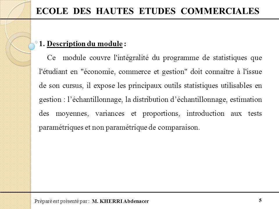 Préparé est présenté par : M. KHERRI Abdenacer 5 ECOLE DES HAUTES ETUDES COMMERCIALES 1. Description du module : Ce module couvre l'intégralité du pro