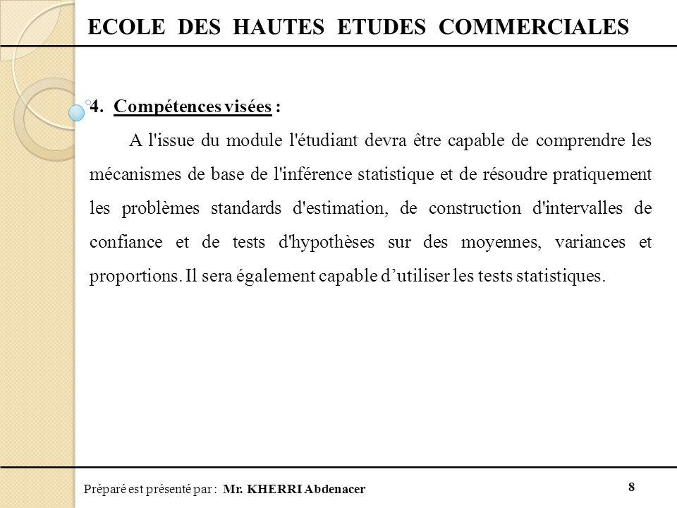 Préparé est présenté par : Mr. KHERRI Abdenacer 8 ECOLE DES HAUTES ETUDES COMMERCIALES 4. Compétences visées : A l'issue du module l'étudiant devra êt