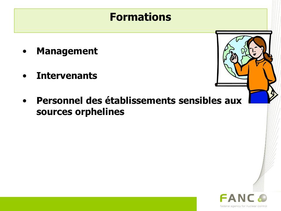 Formations Management Intervenants Personnel des établissements sensibles aux sources orphelines