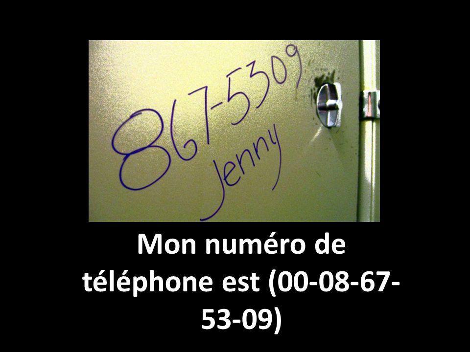 Mon numéro de téléphone est (00-08-67- 53-09)