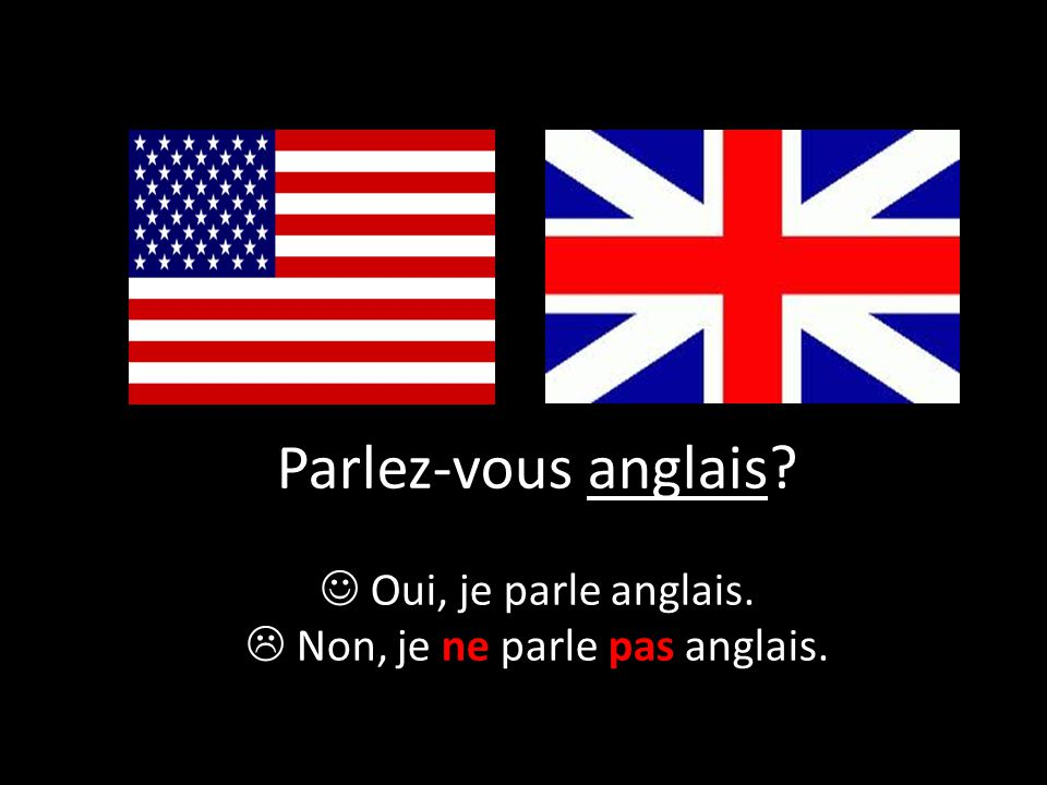 Parlez-vous anglais? Oui, je parle anglais.  Non, je ne parle pas anglais.