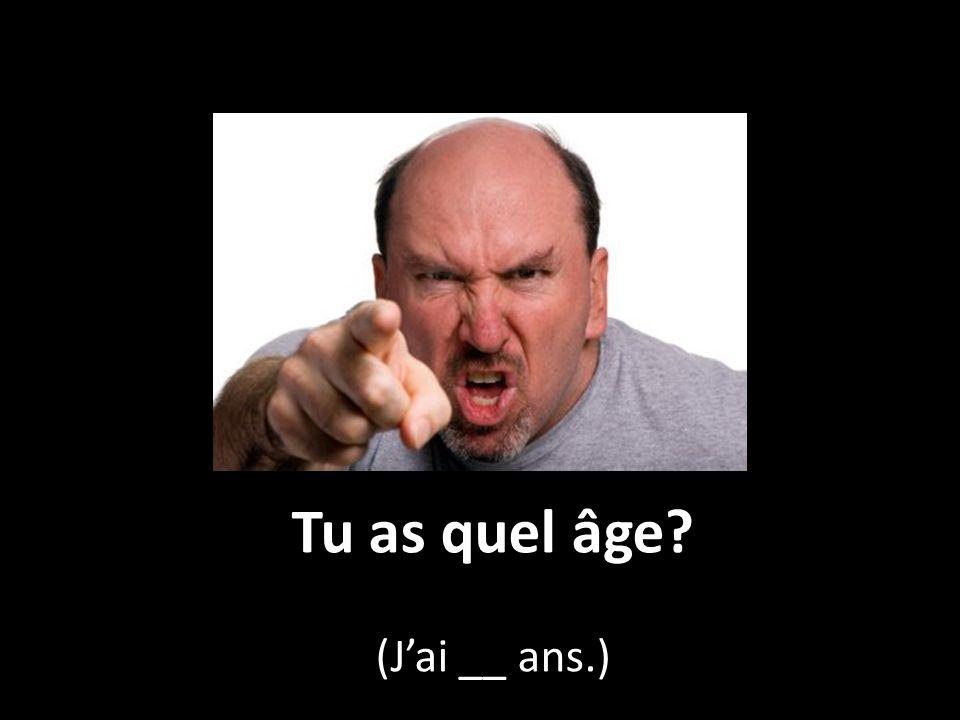 Tu as quel âge? (J'ai __ ans.)