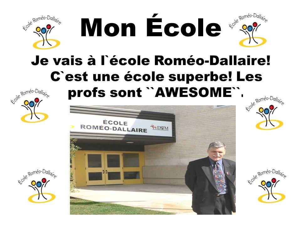 Mon École Je vais à l`école Roméo-Dallaire! C`est une école superbe! Les profs sont ``AWESOME``.