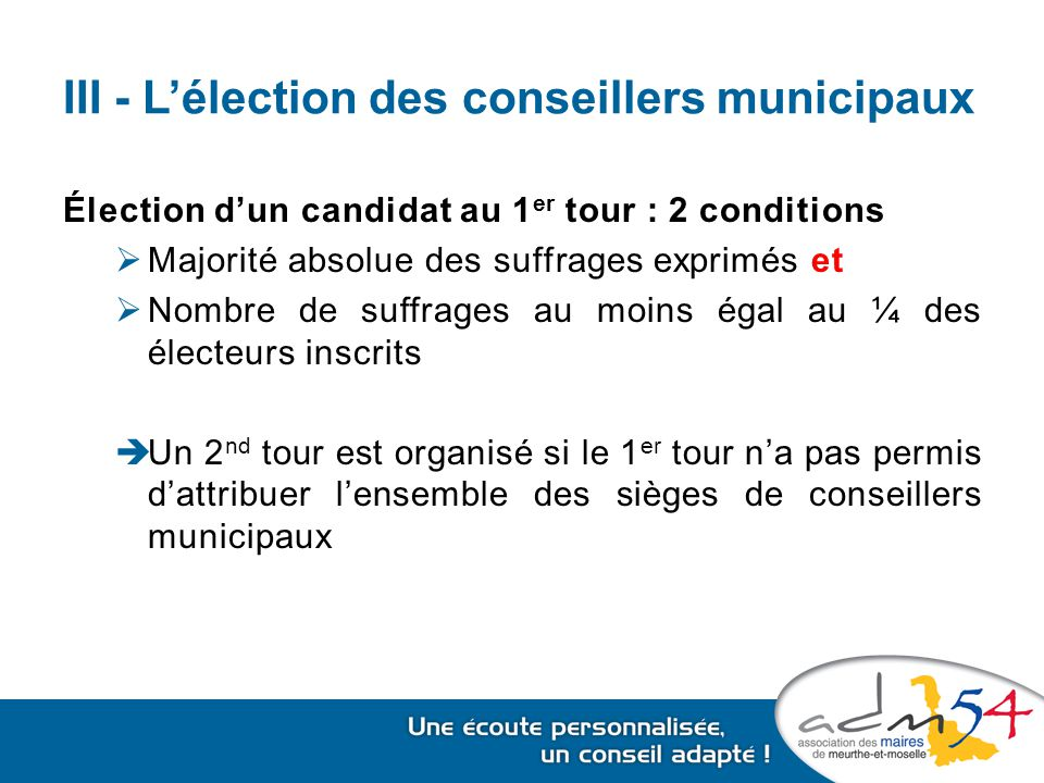 III - L'élection des conseillers municipaux Élection d'un candidat au 1 er tour : 2 conditions  Majorité absolue des suffrages exprimés et  Nombre de suffrages au moins égal au ¼ des électeurs inscrits  Un 2 nd tour est organisé si le 1 er tour n'a pas permis d'attribuer l'ensemble des sièges de conseillers municipaux