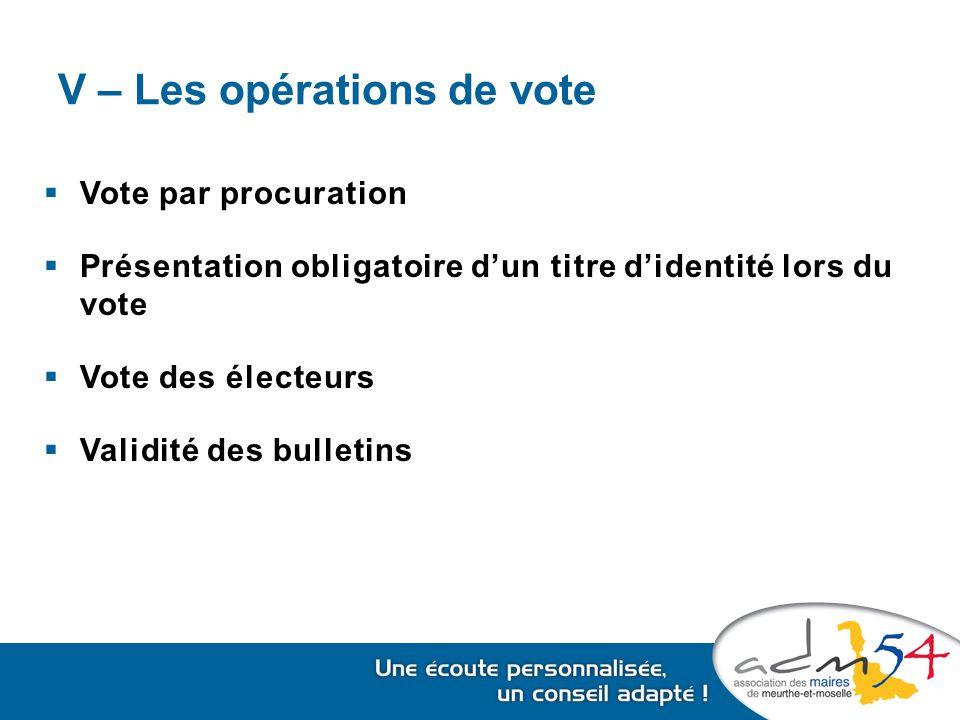 V – Les opérations de vote  Vote par procuration  Présentation obligatoire d'un titre d'identité lors du vote  Vote des électeurs  Validité des bulletins