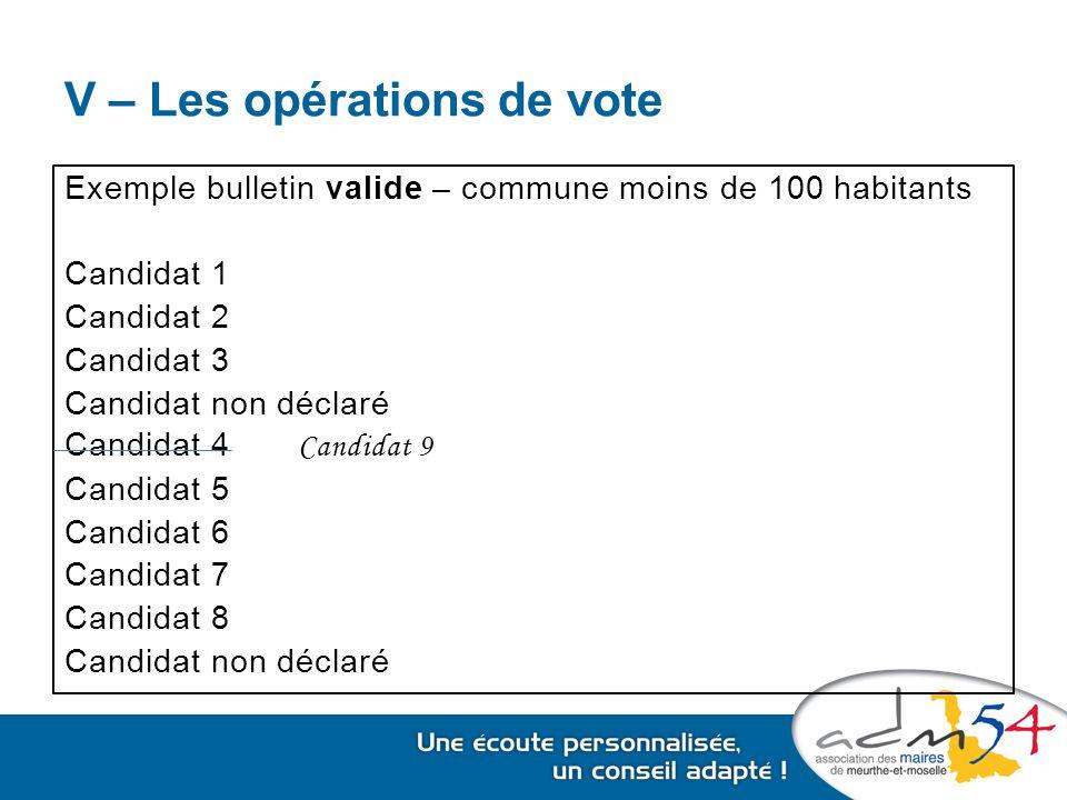 V – Les opérations de vote Exemple bulletin valide – commune moins de 100 habitants Candidat 1 Candidat 2 Candidat 3 Candidat non déclaré Candidat 4 Candidat 9 Candidat 5 Candidat 6 Candidat 7 Candidat 8 Candidat non déclaré