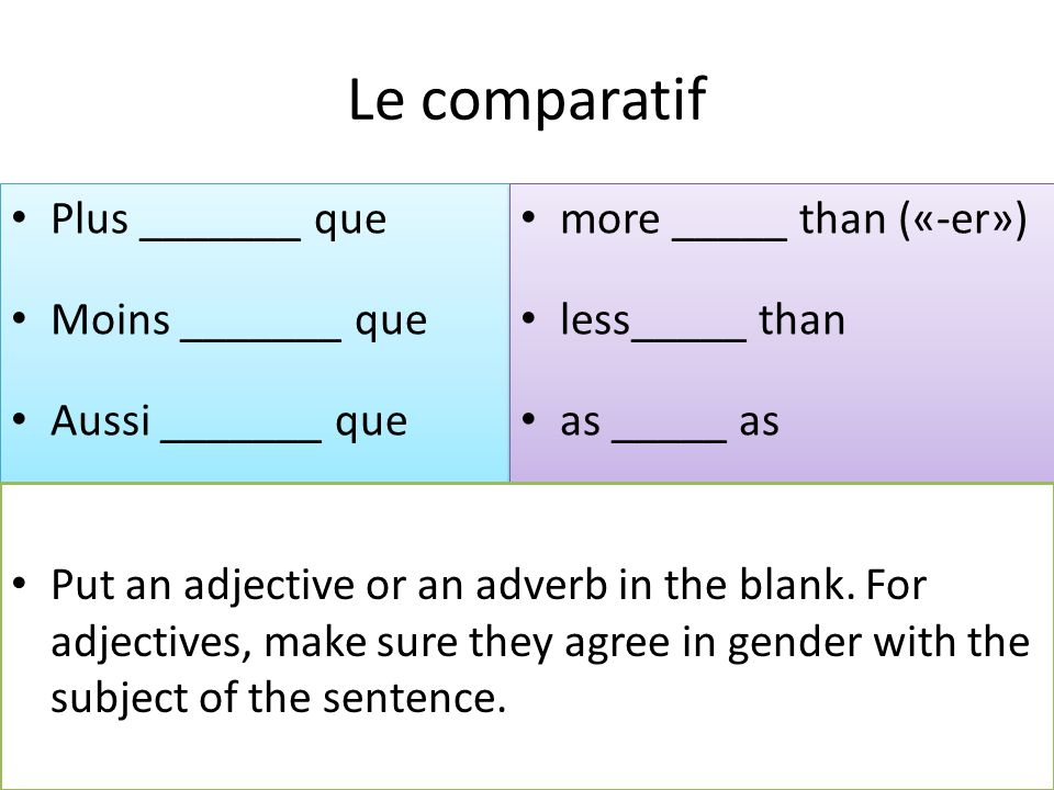 Le comparatif Plus _______ que Moins _______ que Aussi _______ que Plus _______ que Moins _______ que Aussi _______ que more _____ than («-er») less__