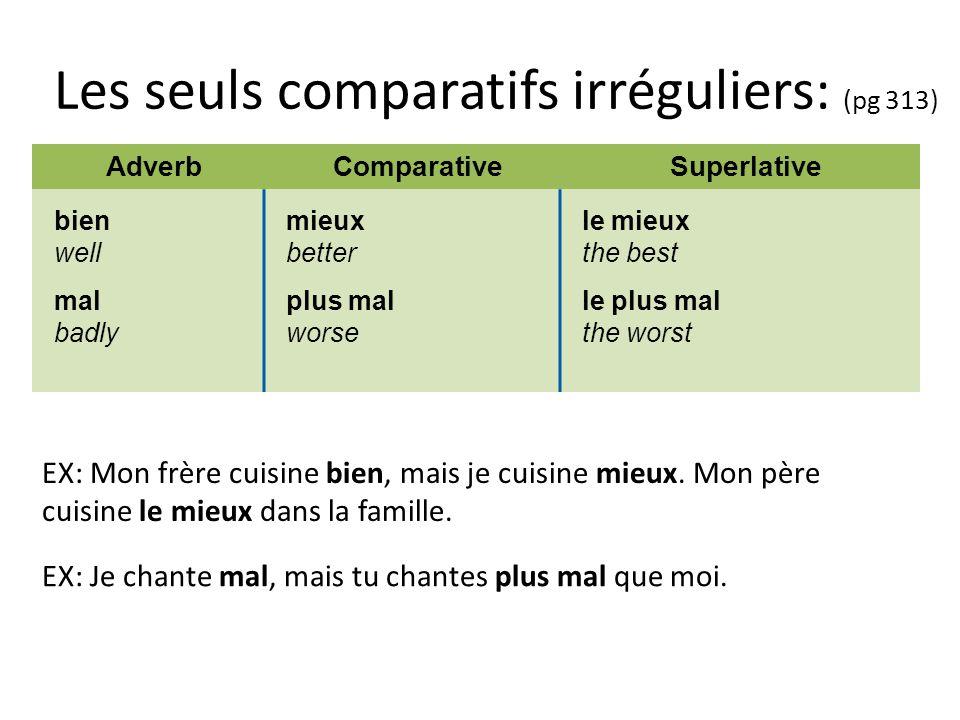 Les seuls comparatifs irréguliers: (pg 313) AdverbComparativeSuperlative bien well mal badly mieux better plus mal worse le mieux the best le plus mal