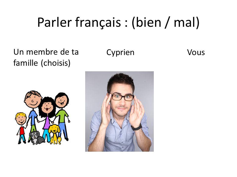 Parler français : (bien / mal) Un membre de ta famille (choisis) Cyprien Vous