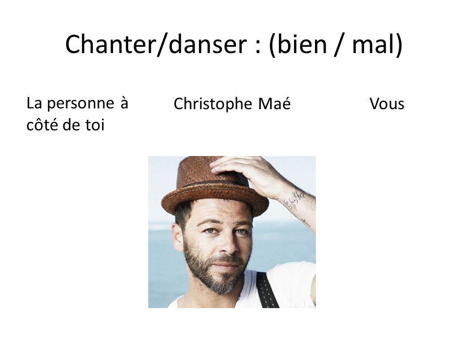 Chanter/danser : (bien / mal) La personne à côté de toi Christophe Maé Vous
