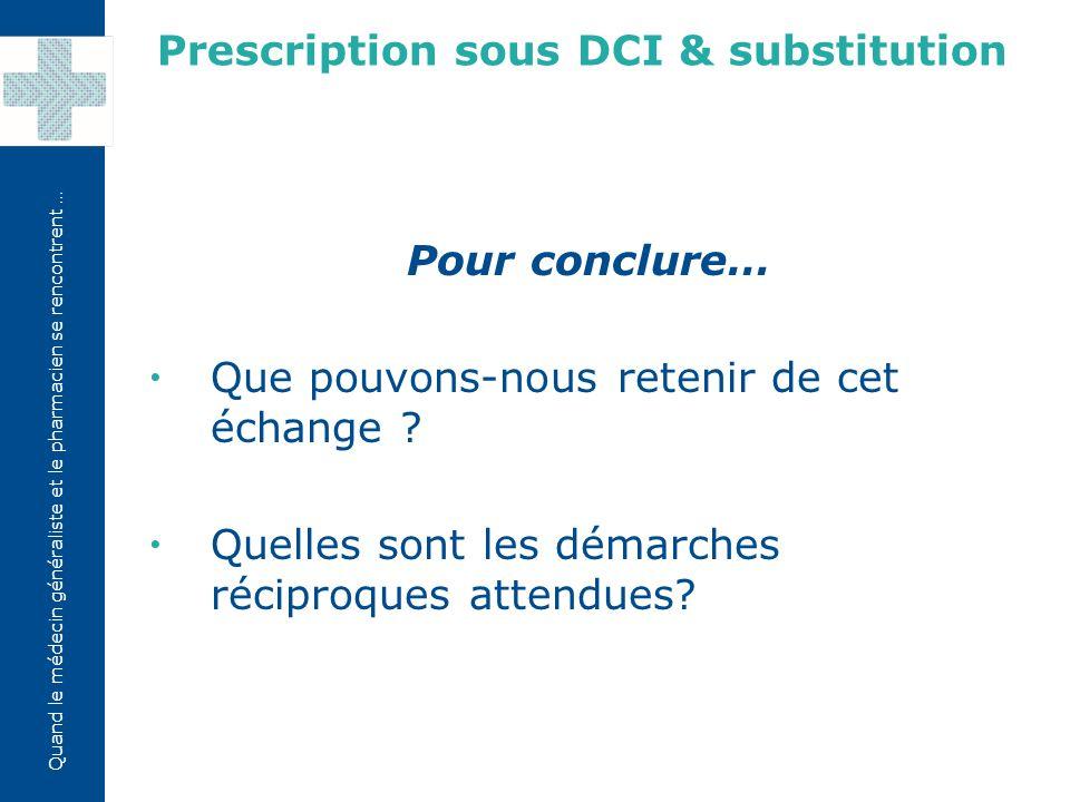 Quand le médecin généraliste et le pharmacien se rencontrent … Pour conclure…  Que pouvons-nous retenir de cet échange .