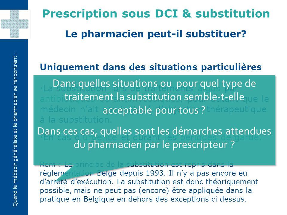 Quand le médecin généraliste et le pharmacien se rencontrent … Uniquement dans des situations particulières  La substitution lors de traitements aigus par antibiotiques ou antimycosiques, pour autant que le médecin n'ait pas indiqué d'objection thérapeutique à la substitution.