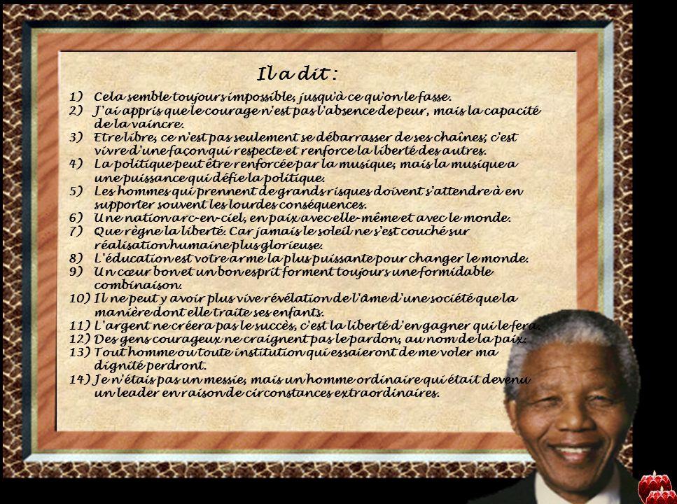 Nelson Rolihlahla Mandela (prononcé en xhosa [xo ˈ li ːɬ a ɬ a man ˈ de ː la]), dont le nom du clan tribal est « Madiba », né le 18 juillet 19181 à Mvezo2 (Union d Afrique du Sud) et mort le 5 décembre 2013 à Johannesburg.