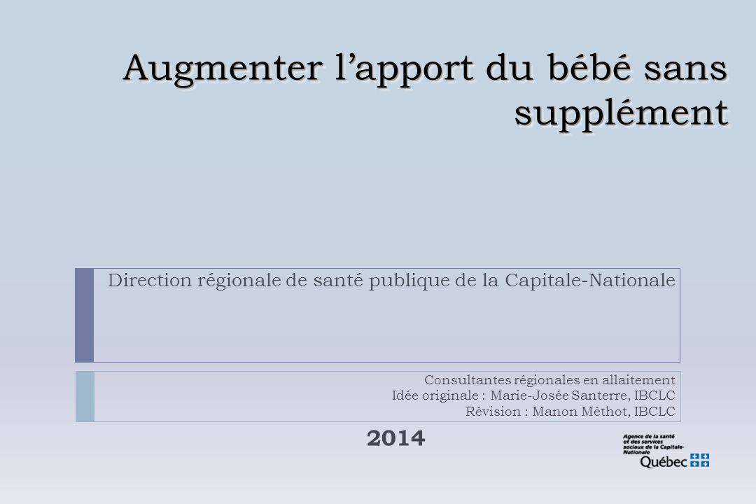 Augmenter l'apport du bébé sans supplément 2014 Direction régionale de santé publique de la Capitale-Nationale Consultantes régionales en allaitement