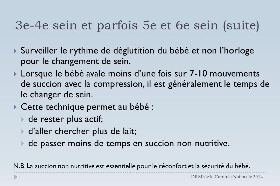 3e-4e sein et parfois 5e et 6e sein (suite)  Surveiller le rythme de déglutition du bébé et non l'horloge pour le changement de sein.  Lorsque le bé