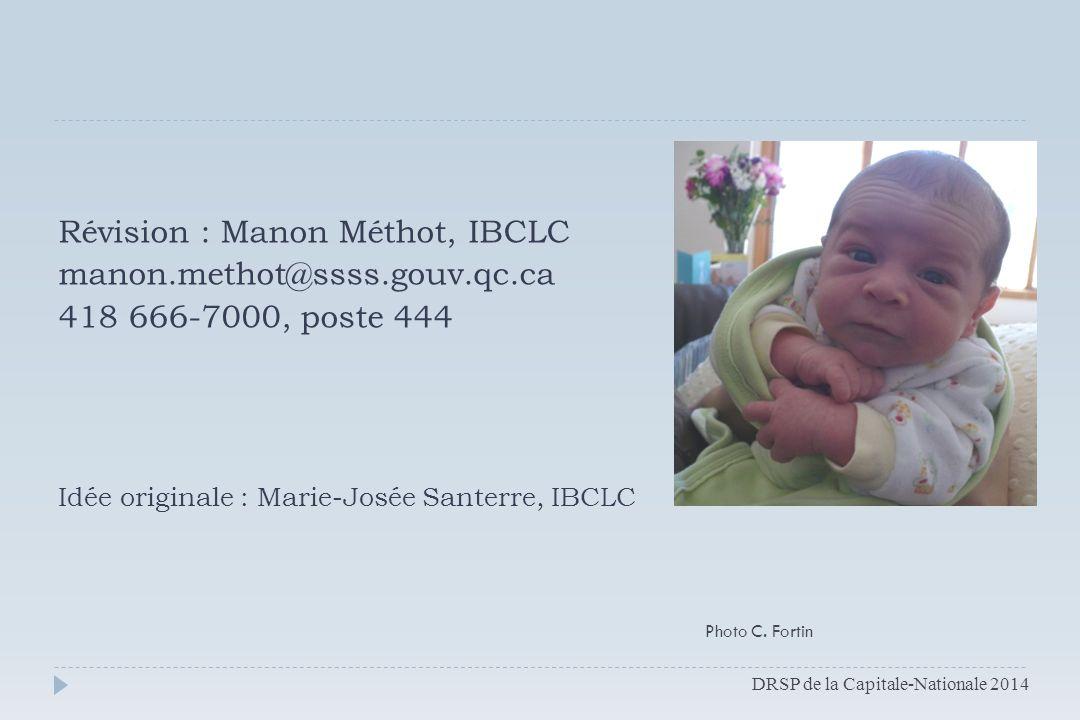 Révision : Manon Méthot, IBCLC manon.methot@ssss.gouv.qc.ca 418 666-7000, poste 444 Idée originale : Marie-Josée Santerre, IBCLC DRSP de la Capitale-N