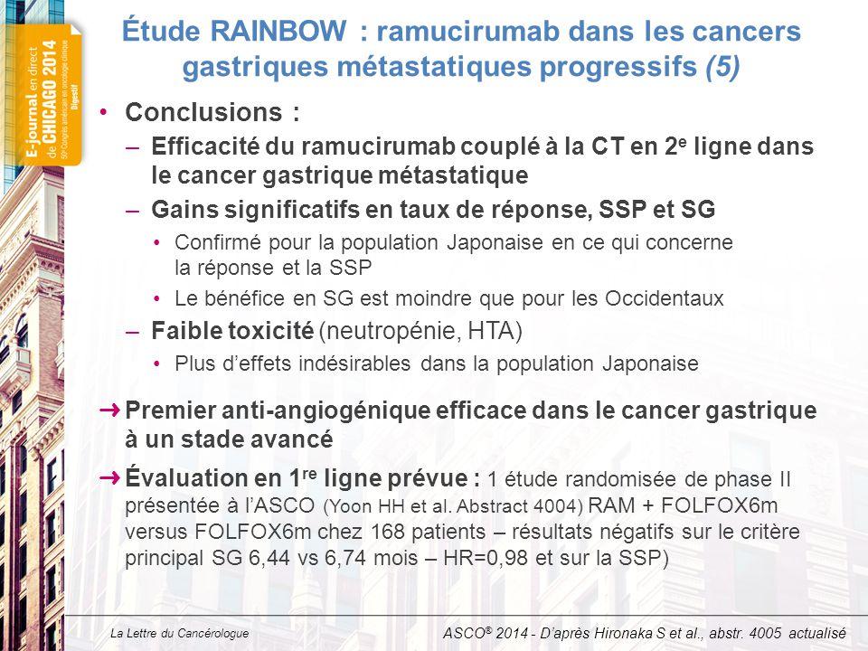 La Lettre du Cancérologue Étude RAINBOW : ramucirumab dans les cancers gastriques métastatiques progressifs (5) Conclusions : –Efficacité du ramucirum
