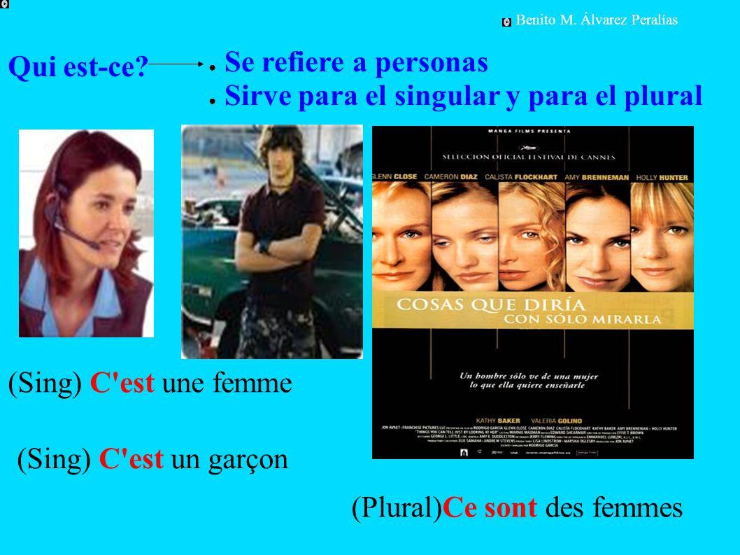 Qui est-ce? ● Se refiere a personas ● Sirve para el singular y para el plural (Sing) C'est une femme (Plural)Ce sont des femmes Benito M. Álvarez Pera