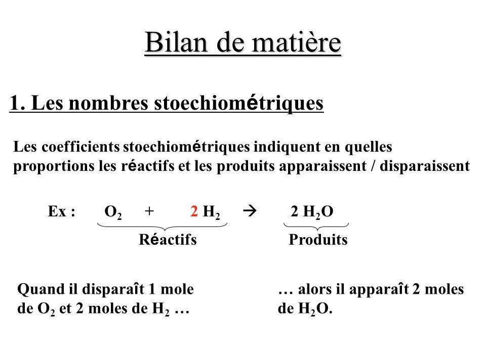 Bilan de matière Les coefficients stoechiom é triques indiquent en quelles proportions les r é actifs et les produits apparaissent / disparaissent 1.