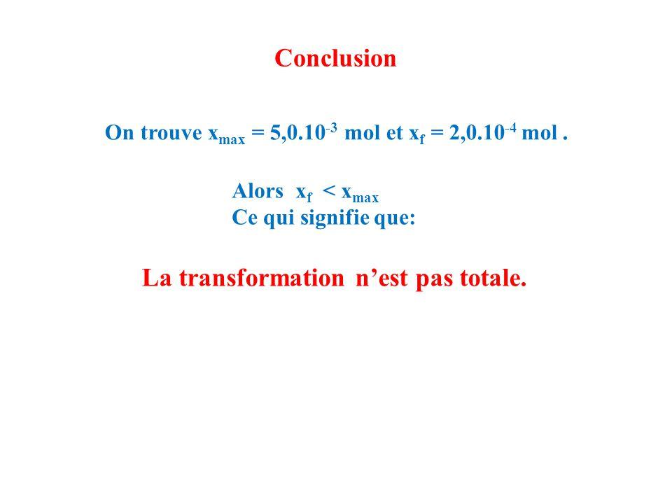 Conclusion On trouve x max = 5,0.10 -3 mol et x f = 2,0.10 -4 mol. Alors x f < x max Ce qui signifie que: La transformation n'est pas totale.