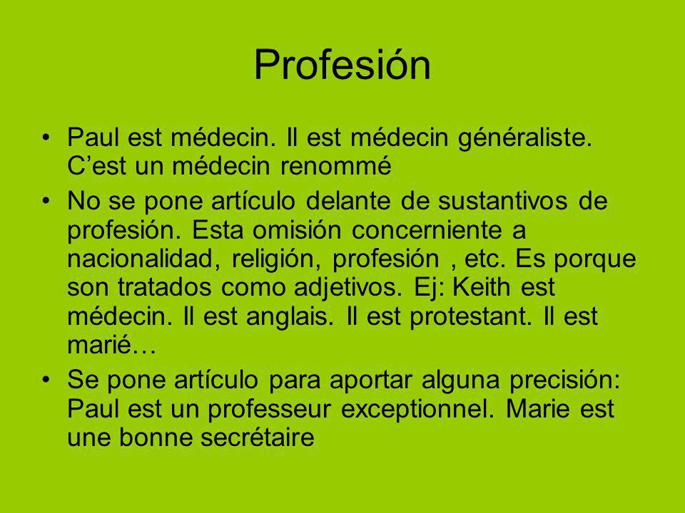 Profesión Paul est médecin. Il est médecin généraliste.