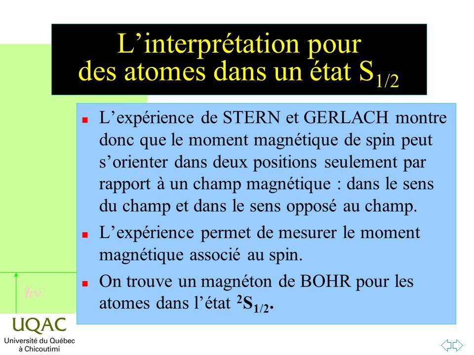h L'interprétation pour des atomes dans un état S 1/2 n L'expérience de STERN et GERLACH montre donc que le moment magnétique de spin peut s'orienter dans deux positions seulement par rapport à un champ magnétique : dans le sens du champ et dans le sens opposé au champ.