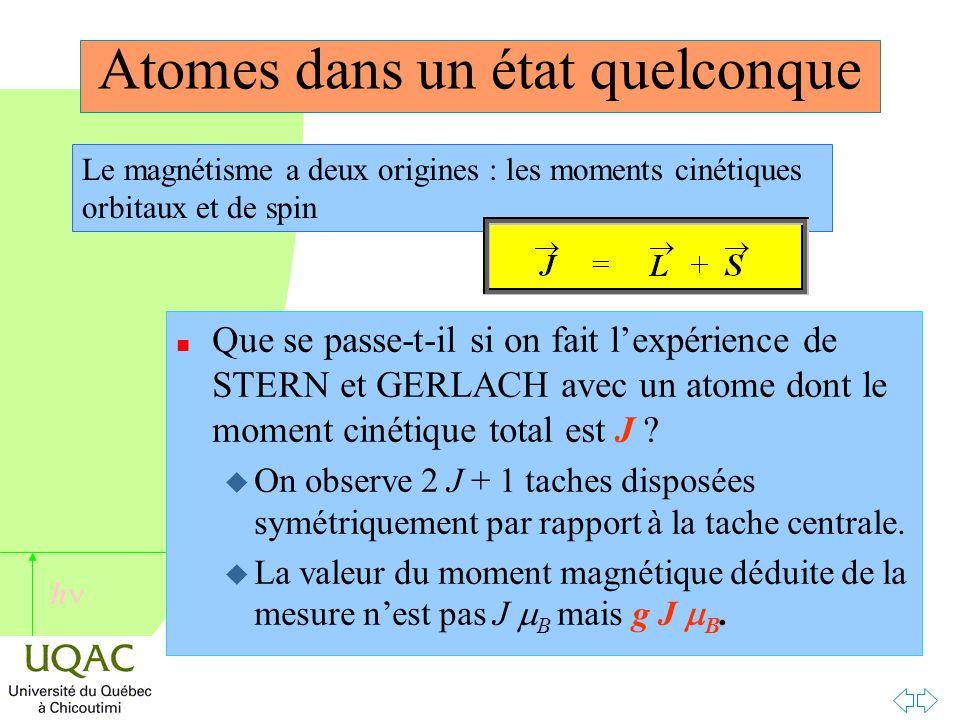 h Atomes dans un état quelconque n Que se passe-t-il si on fait l'expérience de STERN et GERLACH avec un atome dont le moment cinétique total est J .