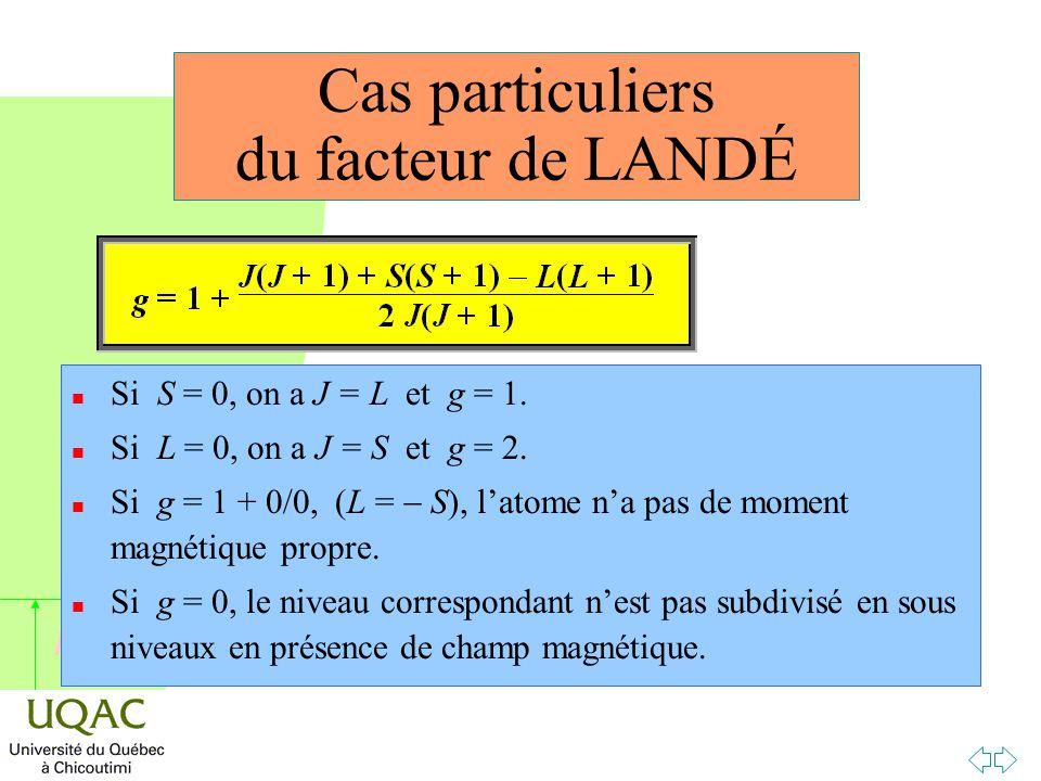 h Cas particuliers du facteur de LANDÉ n Si S = 0, on a J = L et g = 1.