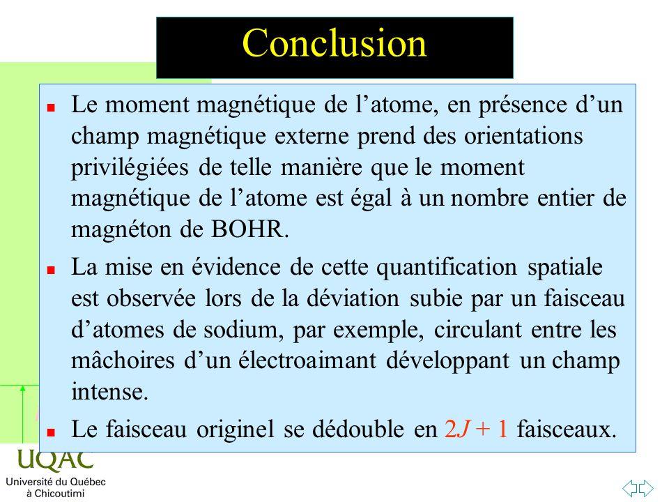 h Conclusion n Le moment magnétique de l'atome, en présence d'un champ magnétique externe prend des orientations privilégiées de telle manière que le moment magnétique de l'atome est égal à un nombre entier de magnéton de BOHR.