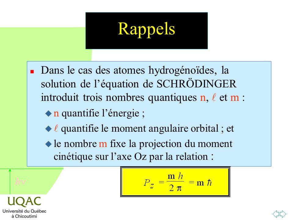 h Rappels n Dans le cas des atomes hydrogénoïdes, la solution de l'équation de SCHRÖDINGER introduit trois nombres quantiques n, et m : u n quantifie l'énergie ; u quantifie le moment angulaire orbital ; et  le nombre m fixe la projection du moment cinétique sur l'axe Oz par la relation :