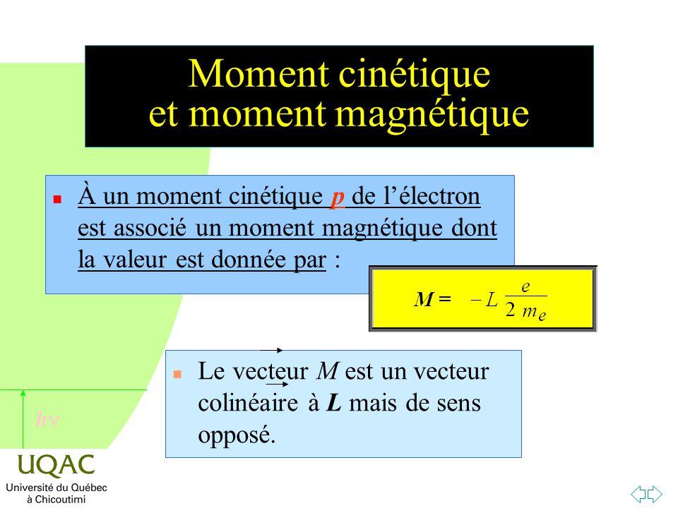 h Moment cinétique et moment magnétique n À un moment cinétique p de l'électron est associé un moment magnétique dont la valeur est donnée par : n Le vecteur M est un vecteur colinéaire à L mais de sens opposé.