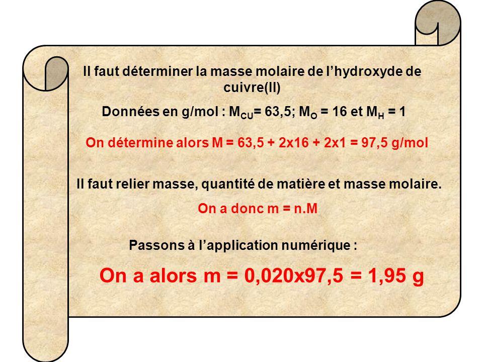 Il faut déterminer la masse molaire de l'hydroxyde de cuivre(II) Données en g/mol : M CU = 63,5; M O = 16 et M H = 1 On détermine alors M = 63,5 + 2x1