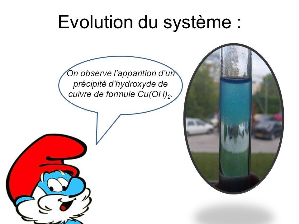 Evolution du système : On observe l'apparition d'un précipité d'hydroxyde de cuivre de formule Cu(OH) 2.