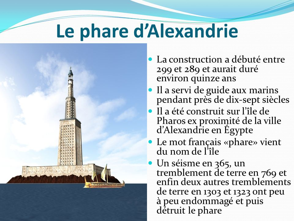 Le phare d'Alexandrie La construction a débuté entre 299 et 289 et aurait duré environ quinze ans Il a servi de guide aux marins pendant près de dix-s