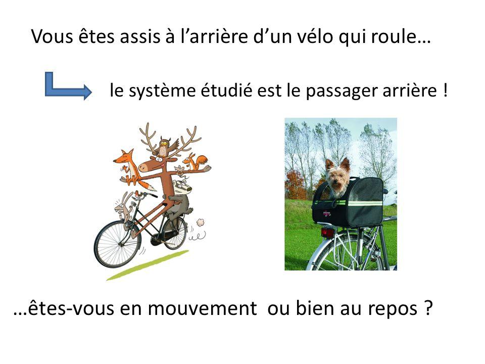 Vous êtes assis à l'arrière d'un vélo qui roule… le système étudié est le passager arrière .